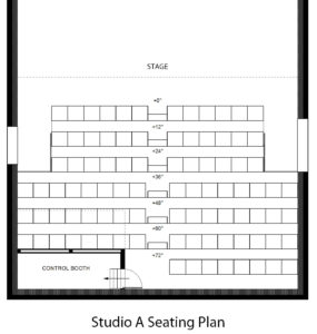 Studio A features a flexible seating plan with a capacity of 90.
