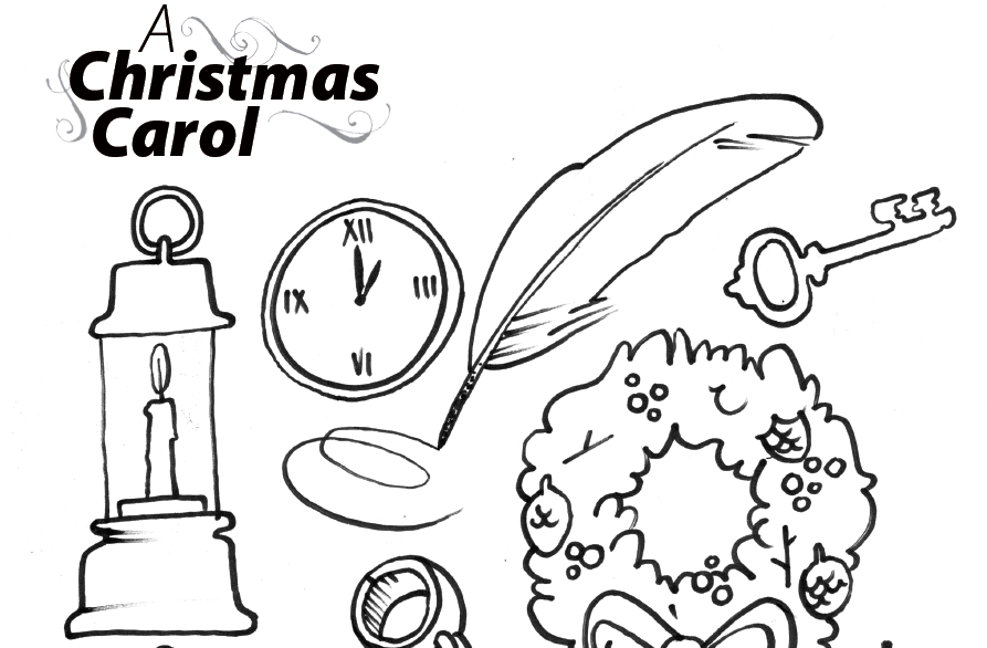 colouring page for a christmas carol